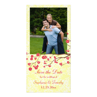 Red + yellow floral damask wedding save the date custom photo card