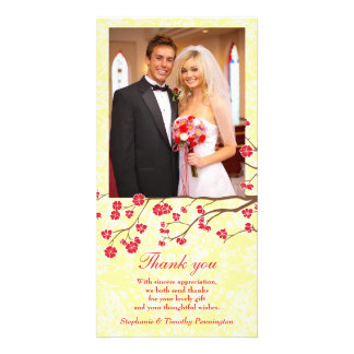 Red + yellow floral damask wedding thank you photo custom photo card