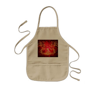 Red, yellow floral design kids apron