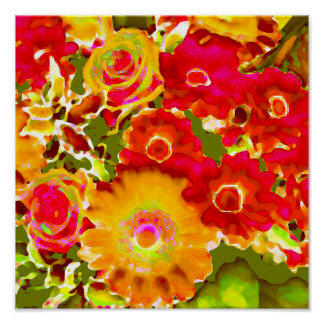 Red Yellow Floral Watercolor Poster
