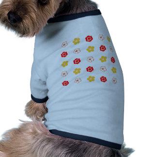 Red Yellow Flower Pattern Dog Shirt
