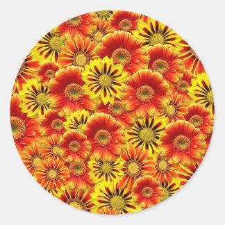 Red yellow flower pattern round sticker