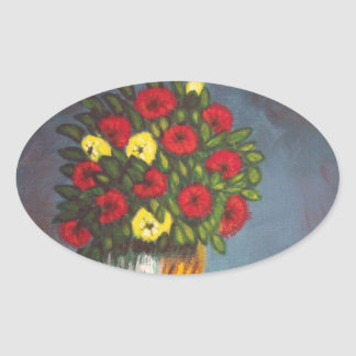 Red Yellow Flowers Vase Painting Oval Sticker
