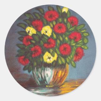 Red Yellow Flowers Vase Painting Round Sticker