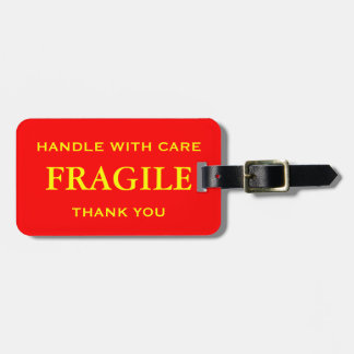 Red Yellow Fragile Handle with Care Thank You Tags For Bags