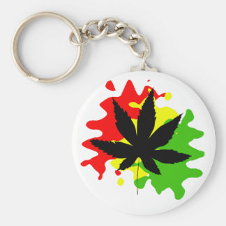 red yellow green behind a black weed basic round button key ring