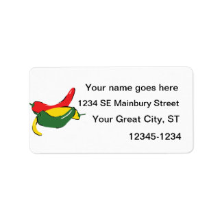 Red Yellow Green Chili Pepper Graphic Address Label