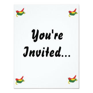 "Red Yellow Green Chili Pepper Graphic 4.25"" X 5.5"" Invitation Card"