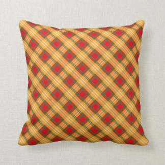 Red Yellow Green Gingham Pattern Cushion