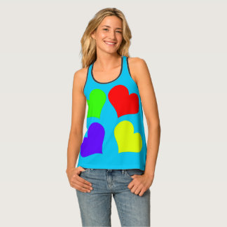 Red Yellow Green Purple Heart Women's Tank Top