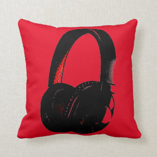 Red Yellow Headphone Pop Art Head Phone Throw Pillow