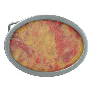 Red  yellow jasper marble stone print belt buckle
