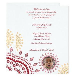 Baby naming ceremony invitations announcements zazzle uk red yellow namkaran baby naming invitations stopboris Choice Image