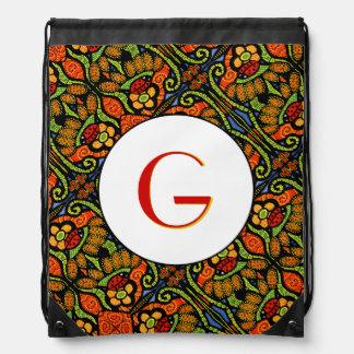 Red Yellow Orange Blue Ladybug Pattern Monogrammed Drawstring Bag
