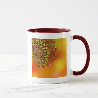 Red Yellow & Orange Bokeh Fractal Pattern Mug