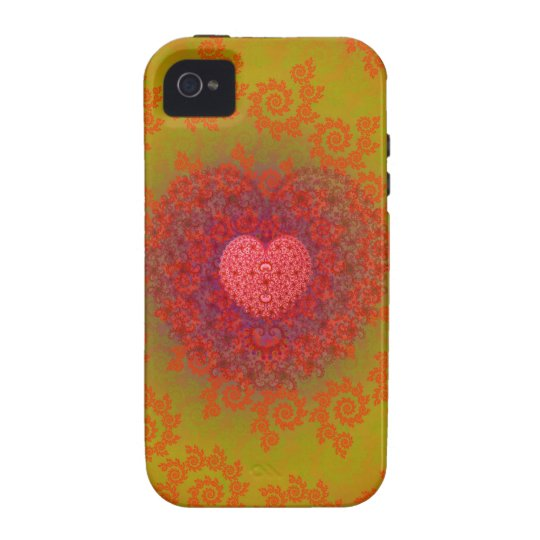 Red Yellow & Orange Heart Fractal Case-Mate iPhone 4 Case