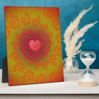 Red Yellow & Orange Heart Fractal Plaque