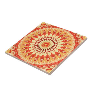 Red Yellow Orange Summer Sun Mandala Pattern Tile