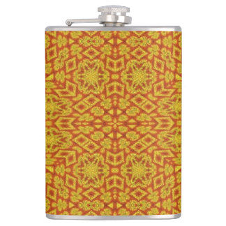 Red Yellow Pattern Hip Flask