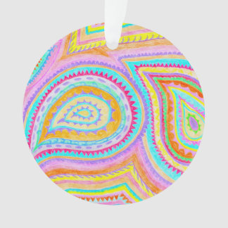 Red Yellow Pink Boho Paisley Pattern Ornament