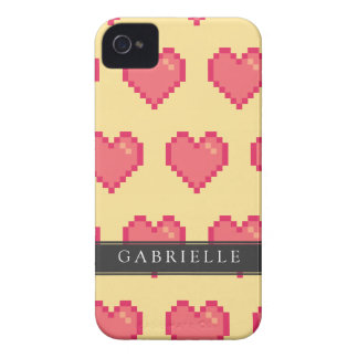 Red Yellow Pixel Heart Pattern iPhone 4 Cases