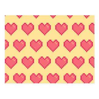 Red Yellow Pixel Heart Pattern Post Cards
