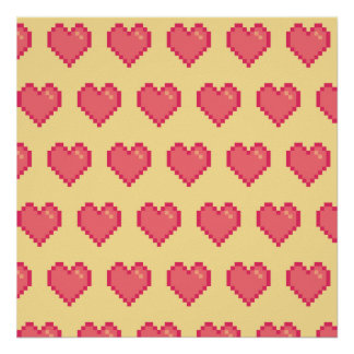 Red Yellow Pixel Heart Pattern Posters