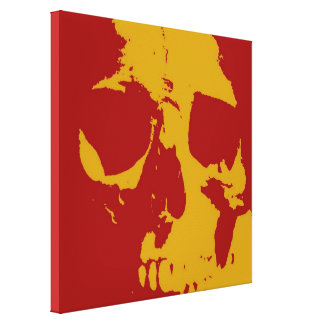 Red Yellow Pop Art Skull Wrapped Canvas