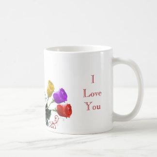 Red, Yellow, Purple Rose Buds Basic White Mug
