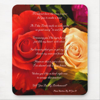 Red Yellow Rose Will You Be My Bridesmaid Mouse Pad