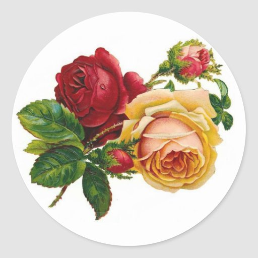 Red & Yellow Roses Round Sticker