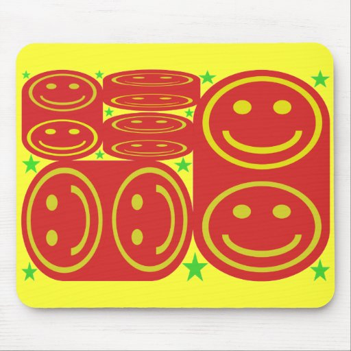 Red,Yellow Smiley's and Green Stars Mouse Pad