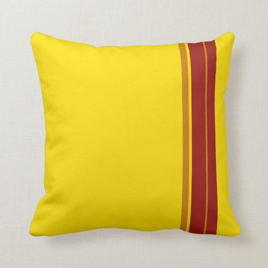 Red Yellow Stripes Art Design Abstract Cushion