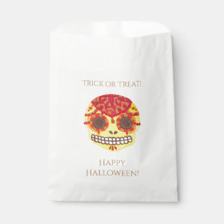 Red & Yellow Sugar Skull Happy Halloween Favor Bag Favour Bags