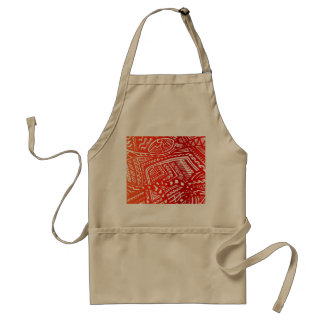 Red/Yellow Sunset Hand-drawn Crazy Tribal Doodle Standard Apron