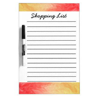Red Yellow texture shopping lists Dry Erase Board