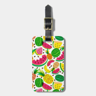 Red & Yellow Tropical Fruit Pattern Luggage Tag