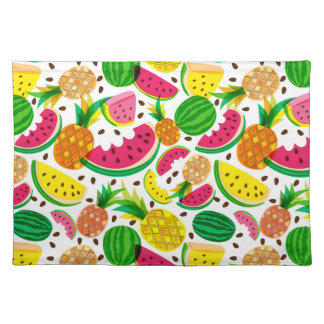 Red & Yellow Tropical Fruit Pattern Placemat