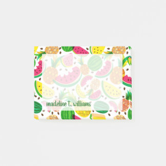 Red & Yellow Tropical Fruit Pattern Post-it Notes