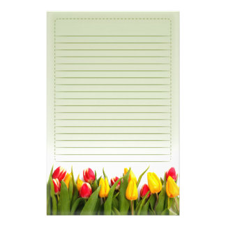 Red Yellow Tulip Flowers Green Background Lined Stationery