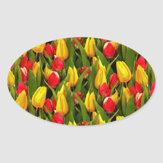 Red Yellow Tulip Flowers Photo Pattern Oval Sticker