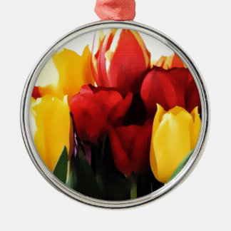 Red Yellow Tulips Christmas Ornament