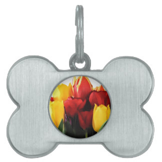 Red Yellow Tulips Pet Name Tag