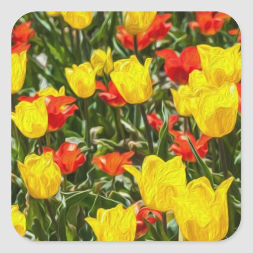 Red & Yellow Tulips Square Sticker