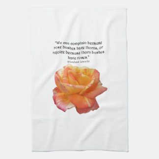 Red Yellow Variegated Rose and Thorn Quote Tea Towel