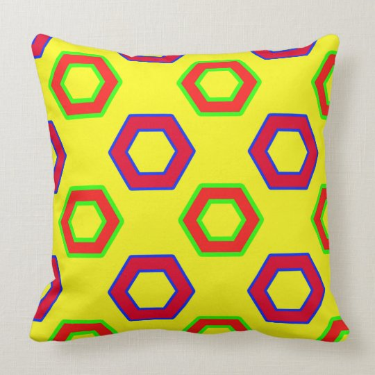 Red & yellow, Vector Hexagon Pattern Cushion