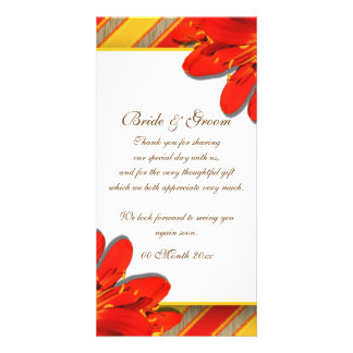 Red yellow wedding thank you flower personalized photo card