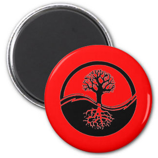 Red yin and yang symbol magnet
