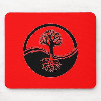 Red yin and yang symbol mouse pad
