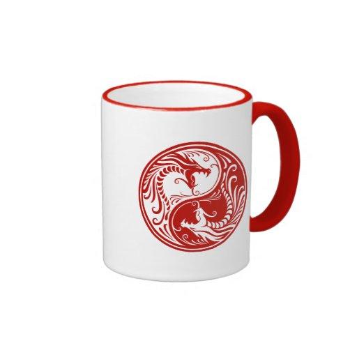 Red Yin Yang Dragons Coffee Mug